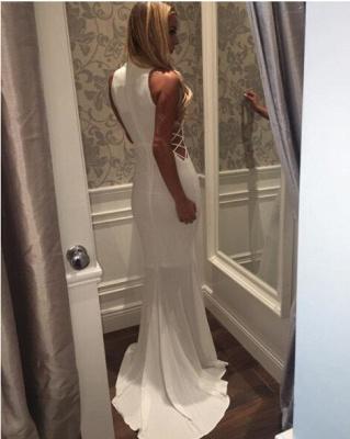 High-Neck Sleeveless Modern Sweep-Train White Zipper Mermaid Prom Dress_3