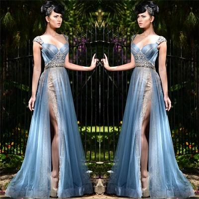Elegant Blue Straps Long Evening Gowns   Tulle Crystal Side Slit Evening Dresses Cheap_3