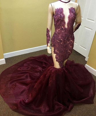 Long-Sleeves Mermaid Beadings Appliques Newest Prom Dress_3