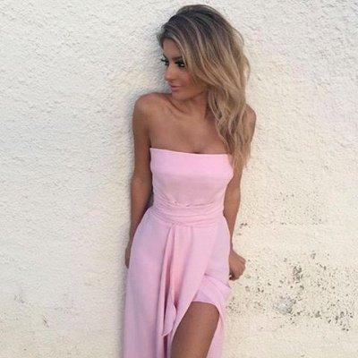 Elegant Sleeveless Pink Strapless Front-Split Chiffon Prom Dress_4