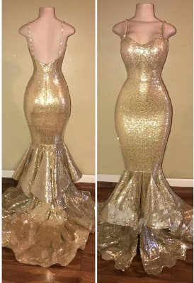 Shiny Gold Spaghettis-Straps Layers-Train Mermaid Sequins Prom Dresses_3