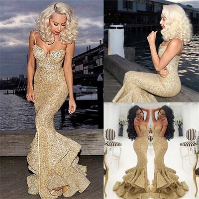 Ruffles-Skirt Gold Mermaid Side-Slit Sequins Spaghettis-Straps Prom Dresses_2