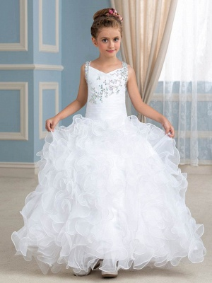 Cute Organza Ruffles Ball Gown Flower Girl Dress with Beadings_1