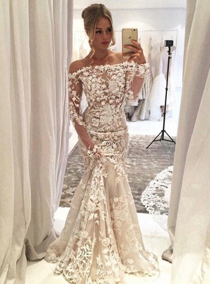 Lace Appliques Mermaid Wedding Dresses   Off-the-shoulder Long Sleeves Bridal Gowns_3