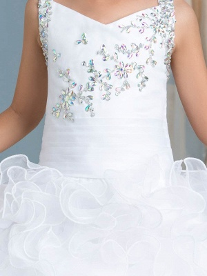 Cute Organza Ruffles Ball Gown Flower Girl Dress with Beadings_4