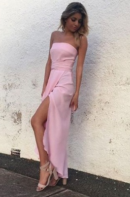 Elegant Sleeveless Pink Strapless Front-Split Chiffon Prom Dress_2