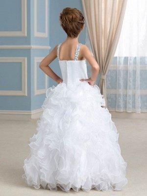 Cute Organza Ruffles Ball Gown Flower Girl Dress with Beadings_3
