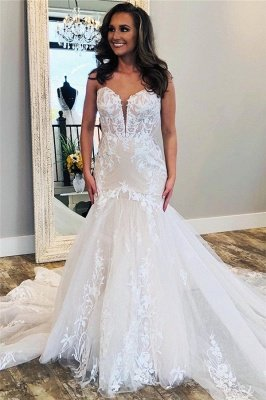 Sexy Sweetheart Backless Applique Fit And Flare Mermaid Wedding Dresses | Tulle Bridal Gown_1