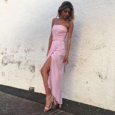 Elegant Sleeveless Pink Strapless Front-Split Chiffon Prom Dress_3