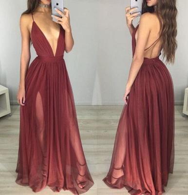 Black Backless Side-Slit Sexy Sleeveless  V-Neck Prom Dress_4