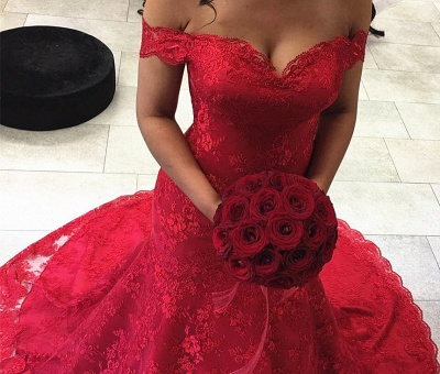 Mermaid Off-the-shoulder Lace Court-Train Sexy Red Evening Dresses_3