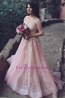 A-Line Pink Long Applique  Half-Sleeve Prom Dresses_1