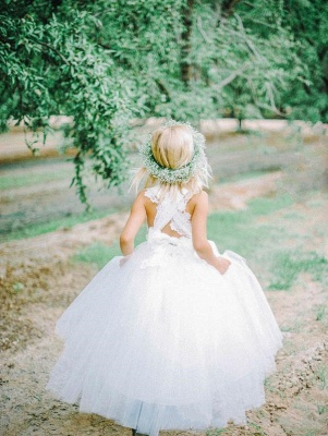 White Tulle Long Flower Girl Dress | White Lace Dress with Crossed Back BO8530_5