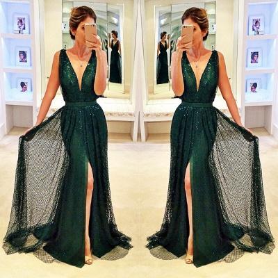 Sleeveless Sequined Front-Split Dark-Green V-Neck Sexy Prom Dress_3