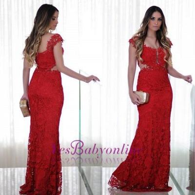 Long Cap-Sleeves Lace Mermaid Floor-Length Red Prom Dress_1