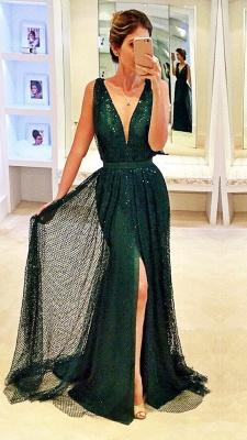 Sleeveless Sequined Front-Split Dark-Green V-Neck Sexy Prom Dress_2