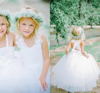 White Tulle Long Flower Girl Dress | White Lace Dress with Crossed Back BO8530_2
