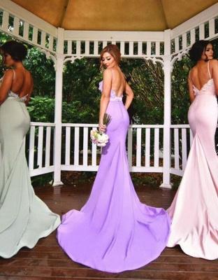 Spaghettis-Straps Long Mermaid 3D-Floral-Appliques Elegant Bridesmaid Dresses_3