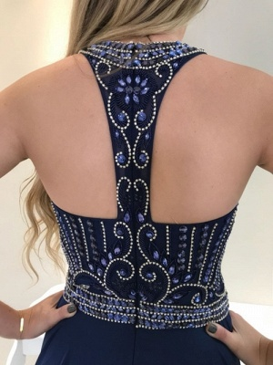 Long  Navy Beadings Prom Dress_4