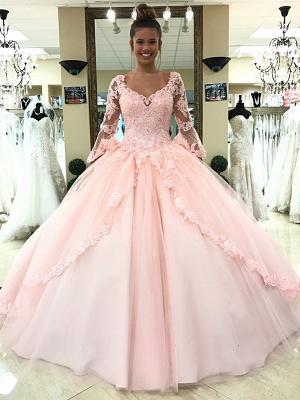 sleeve long lace pink princess evening dress_2