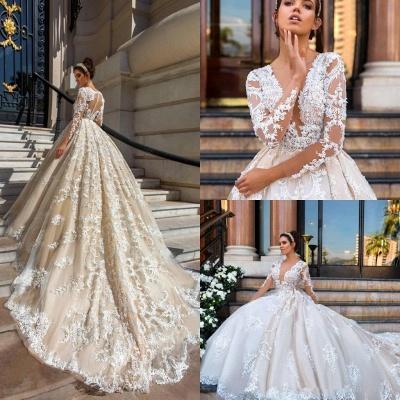 Lace Court-Train Princess Glamorous Long Sleeves Wedding Dress_5