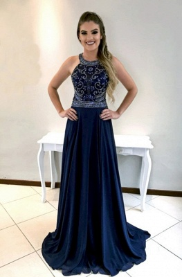 Long  Navy Beadings Prom Dress_2