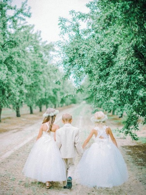 White Tulle Long Flower Girl Dress | White Lace Dress with Crossed Back BO8530_4