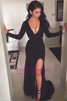 Side-Slit V-Neck Sheath Black Sexy Prom Dresses with Long Sleeves_1