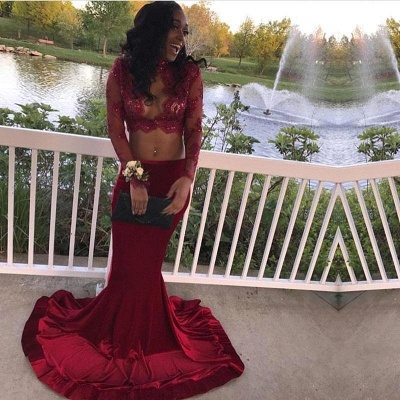 Sexy Two-Piece Prom Dresses | Long Sleeves Mermaid Evening Gowns_1