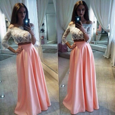 Lace A-Line Pink Elegant Two-Pieces Off-the-Shoulder Prom Dress_3
