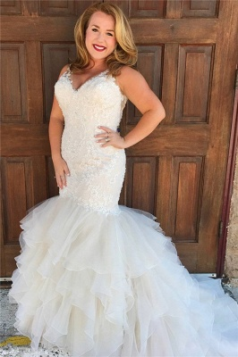 Straps Sweetheart Applique Fitted Mermaid Wedding Dresses | Ruffles Bridal Gown_1