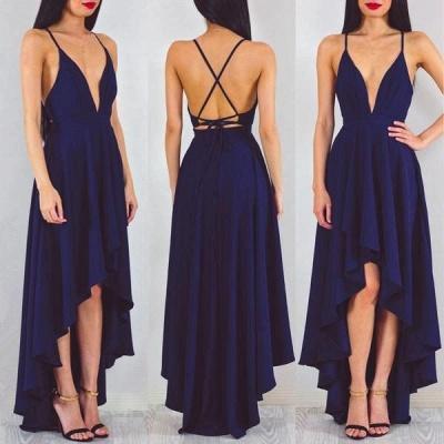 A-line Sleeveless Sexy Spaghetti-StrapS Hi-Lo Prom Dress_3