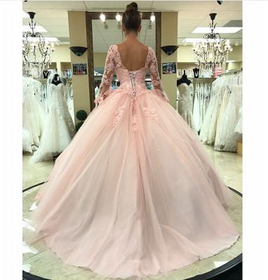 sleeve long lace pink princess evening dress_4