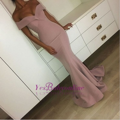 Sexy Mermaid Pink Off-the-Shoulder Plain Long Prom Dresses_1