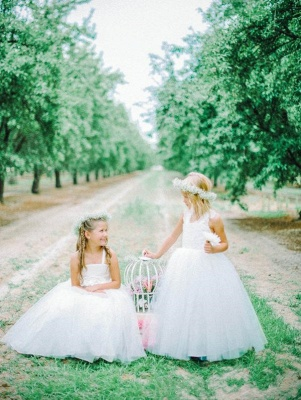 White Tulle Long Flower Girl Dress | White Lace Dress with Crossed Back BO8530_3