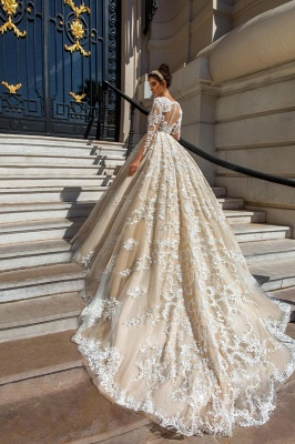 Lace Court-Train Princess Glamorous Long Sleeves Wedding Dress_3