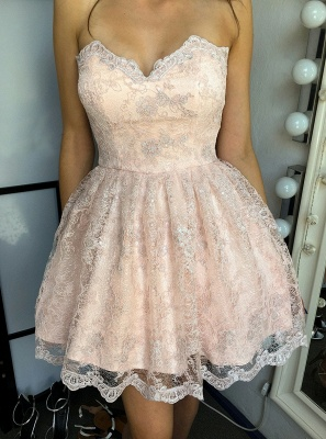 Elegant Sweetheart Homecoming Dresses | Sleeveless Lace-Up Cocktail Dresses_1