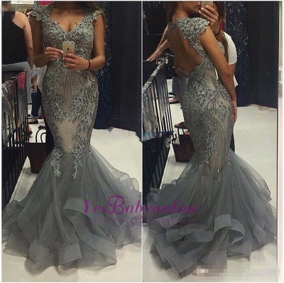 Luxury Grey Mermaid Prom Dresses Capped Sleeves V-Neck Formal Gowns_1