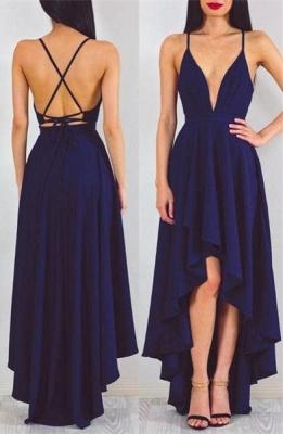 A-line Sleeveless Sexy Spaghetti-StrapS Hi-Lo Prom Dress_2