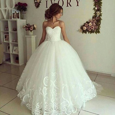 Sweetheart Glamorous Appliques Ball-Gown Wedding Dresses_3