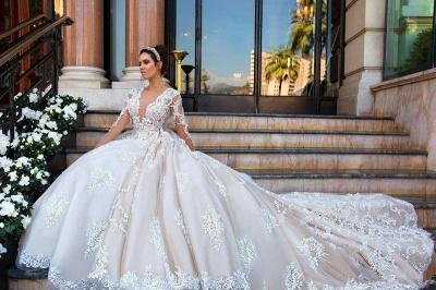 Lace Court-Train Princess Glamorous Long Sleeves Wedding Dress_4