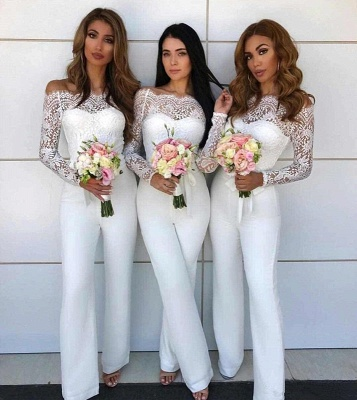 Off Shoulder Lace Jumpsuit Bridesmaid Dresses | Long Sleeves Sheath Wedding Party Pants_3