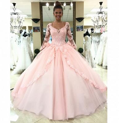 sleeve long lace pink princess evening dress_3