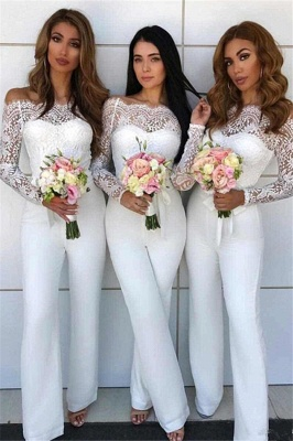 Off Shoulder Lace Jumpsuit Bridesmaid Dresses | Long Sleeves Sheath Wedding Party Pants_1