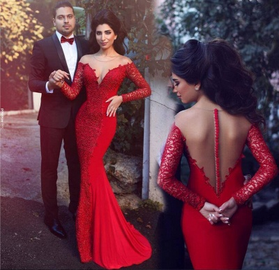 2019 Red Mermaid Prom Dresses Long Sleeves Lace Formal Evening Gowns_3