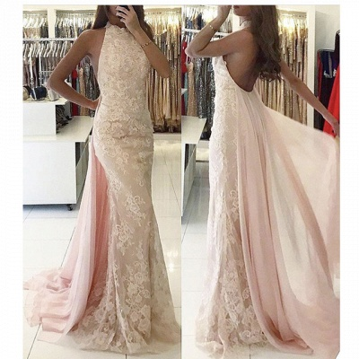 Backless Tulle Sweep-Train Newest Applqiues Mermaid Halter Evening Dress_3