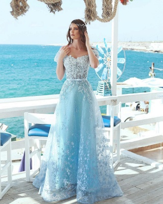 Exquisite A-Line Floral Prom Dresses | Off-The-Shoulder Short Sleeves Beaded Prom Dresses With Bows_3