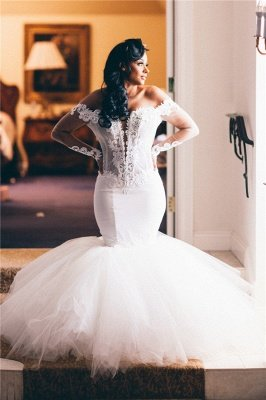 Chic Jewel Long Sleeve Applique Ruffles Fit And Flare Mermaid Wedding Dresses_2