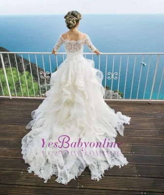 Layers Ball-Gown Lace Half Sleeves Off-the-Shoulder Wedding Dresses_1