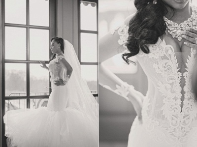 Chic Jewel Long Sleeve Applique Ruffles Fit And Flare Mermaid Wedding Dresses_4